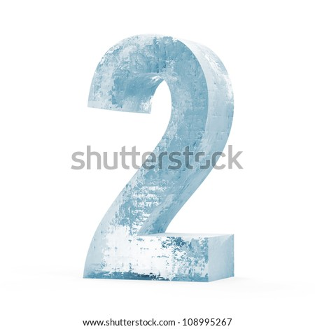 Icy Numbers isolated on white background (Number 2) - stock photo