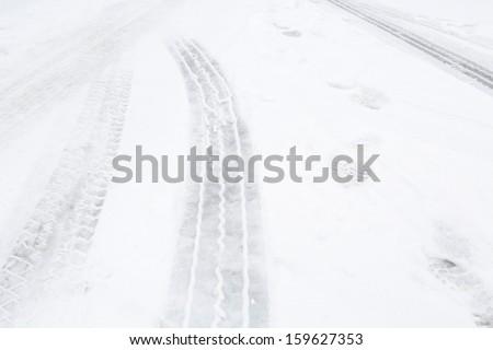 Icy road - stock photo