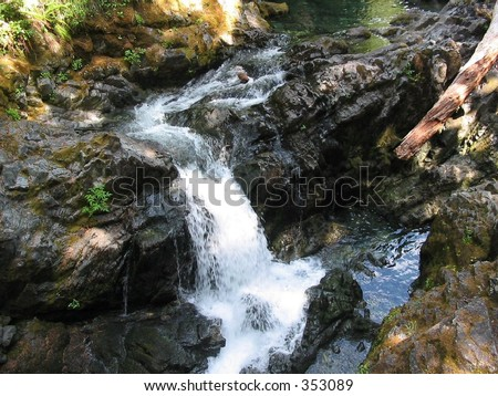 Icy water runs through Opal Creek in Willamette National Forest. - stock photo
