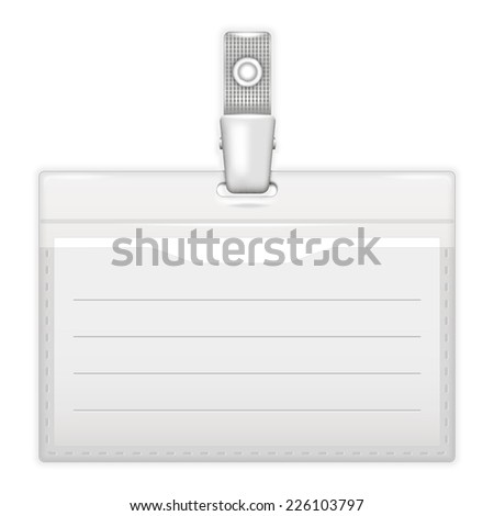 ID holder or card name over white. Realistic  - stock photo