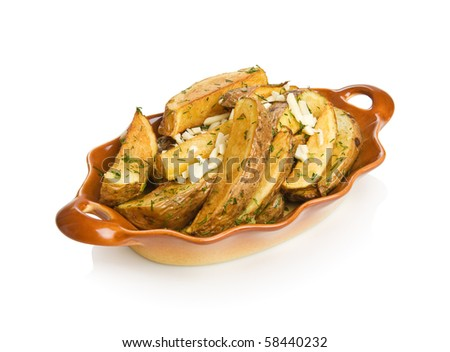 Idaho potato wedges with dill and garlic. Isolated on white by clipping path. - stock photo