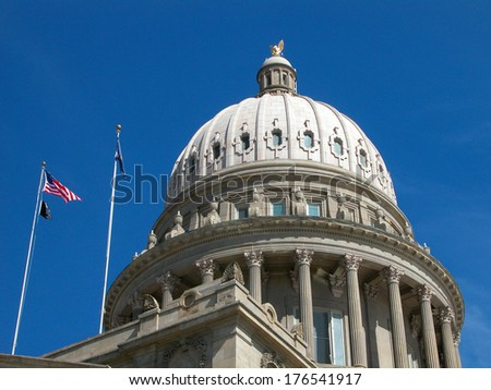 Idaho's historical and landmark state capitol building features a circular dome and is open to the public.             - stock photo