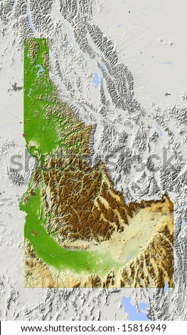 Idaho. Shaded relief map, with major urban areas and rivers, surrounding territory greyed out. Colored according to elevation. Clipping path for the state area included. Data source: NASA - stock photo