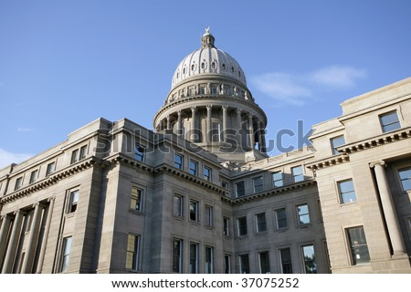 Idaho State Capitol Building during morning sunrise. - stock photo