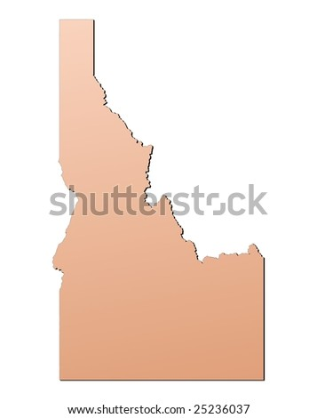 Idaho (USA) map filled with brown gradient. Mercator projection. - stock photo