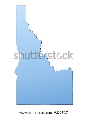 Idaho(USA) map filled with light blue gradient. High resolution. Mercator projection. - stock photo