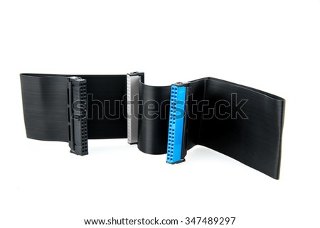 IDE connectors and black ribbon cables 80pin for hard drive on PC - stock photo