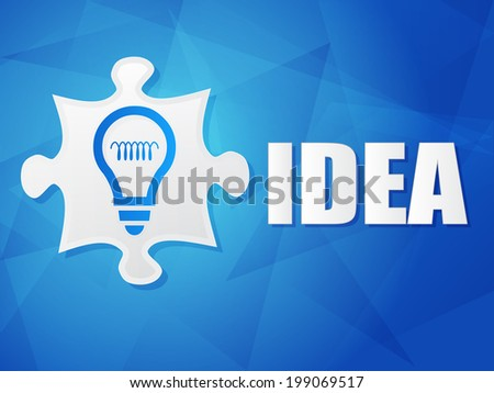 idea and puzzle piece with light bulb sign - white text with symbol over blue background, flat design, business creative concept - stock photo