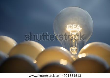 Idea and solution business concepts. Idea symbol, light bulb. - stock photo