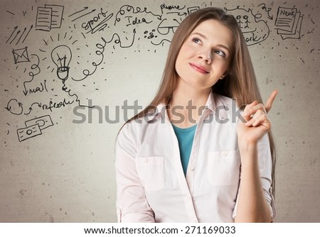 Idea. Beautiful business woman with idea light bulb above hand isolated on white background - stock photo