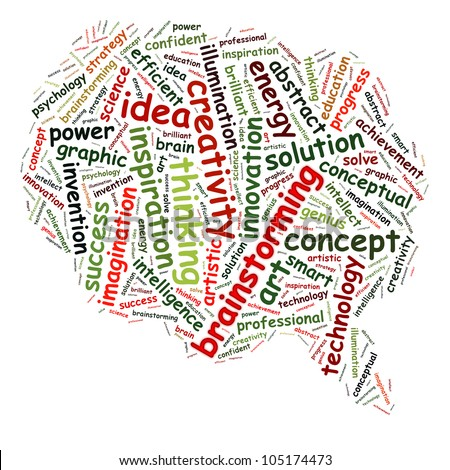 Idea & brainstorming info-text graphics and arrangement concept (word cloud) in the shape of speech bubble - stock photo