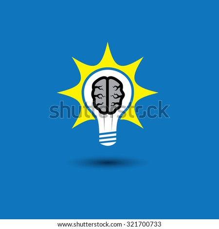 idea bulb with brain glowing with solutions - concept graphic icon. This graphic also represents creative problem solving, genius mind, smart thinking, inventive mind, innovative man, abstract thought - stock photo