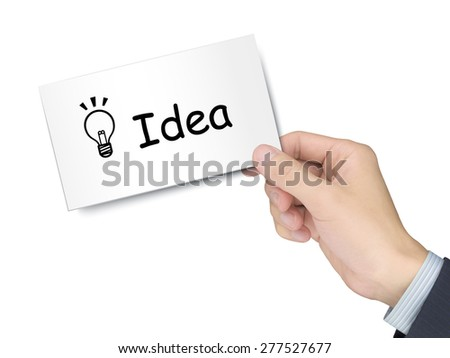 idea card in hand isolated over white background - stock photo