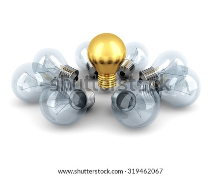Idea Concept Golden Light Bulb Out From Others Bulbs. 3d Render Illustration - stock photo