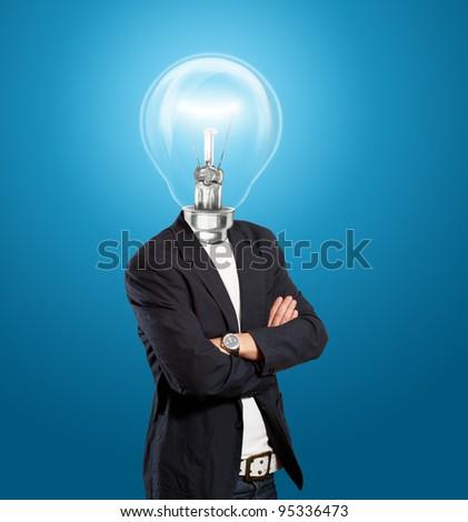 Idea concept, lamp head businessman have got an idea - stock photo