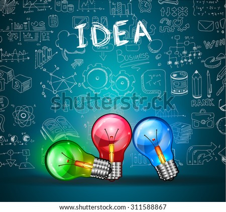 Idea Concept Layout for Brainstorming and Infographic background with graphs sketches. A lot of hand drawn infographics and related design elements are included plus 3D glossy lamp. - stock photo