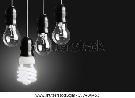 Idea concept on black background  - stock photo