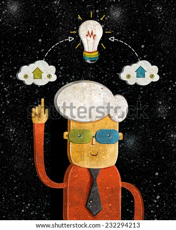 Idea.Conceptual design with man and Light bulb for teamwork and human resources, knowledge and experience.Light bulb idea concept illustration.Business leader banner. - stock photo