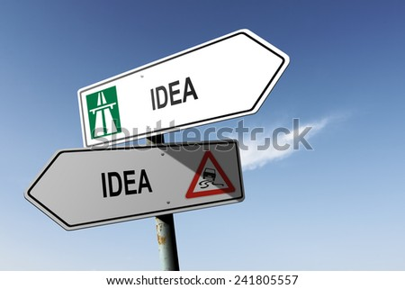 Idea directions. Choice for easy way or hard way. - stock photo