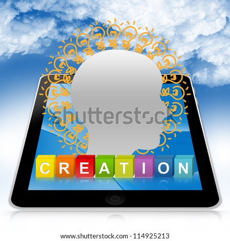 Idea Generate Concept Present By Tablet PC With Colorful Creation Cube Box And Head With Many Light Bulb In Blue Sky Background - stock photo