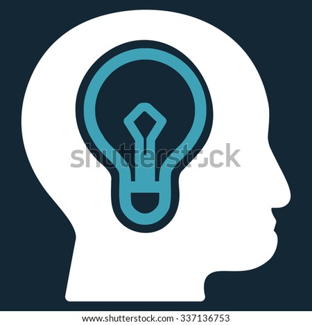Idea glyph icon. Style is bicolor flat symbol, blue and white colors, rounded angles, dark blue background. - stock photo