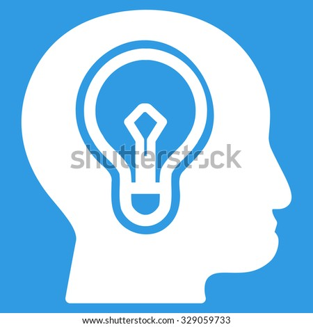 Idea glyph icon. Style is flat symbol, white color, rounded angles, blue background. - stock photo