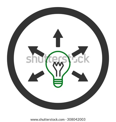 Idea glyph icon. This rounded flat symbol is drawn with green and gray colors on a white background. - stock photo