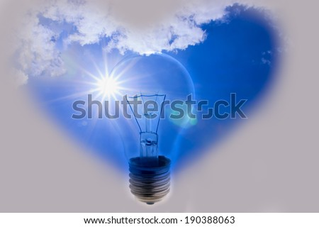Idea, hearts, a light bulb with the power of nature - stock photo