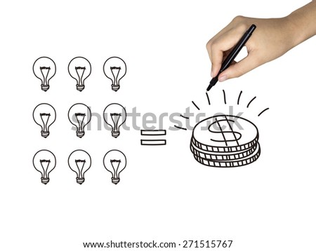 idea is money icon drawn by human hand over white background - stock photo