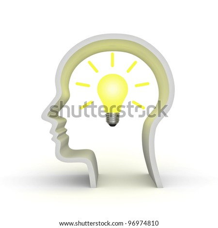 Idea light bulb in human head shape concept isolated on white background - stock photo