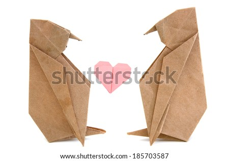 idea of couple origami peguins, in love - stock photo