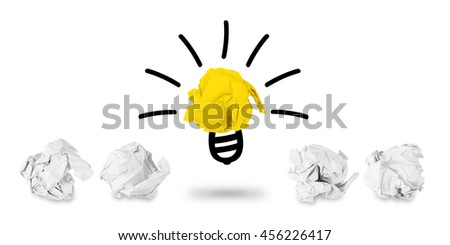 idea paper ball light bulb concept isolated on white background - stock photo