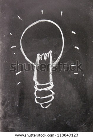 idea sign drawn with chalk on blackboard - stock photo