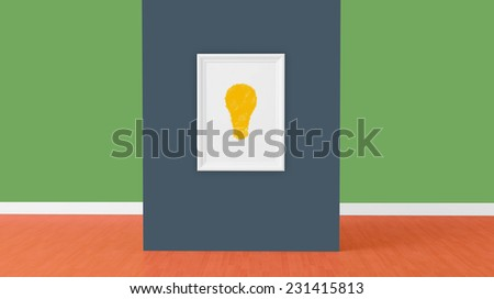 idea sign on empty frame on blue wall, 3d render - stock photo