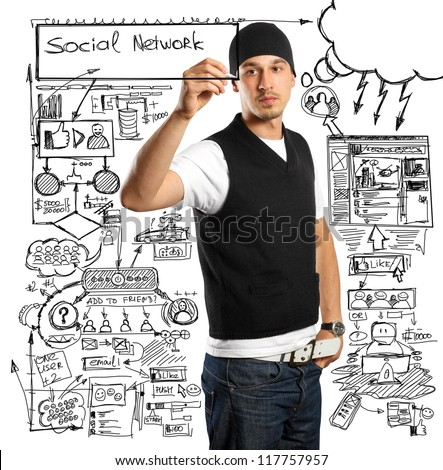 Idea social network concept, business man writing something on glass board with marker - stock photo