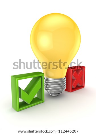 Idea symbol between tick and cross marks.Isolated on white background.3d rendered. - stock photo