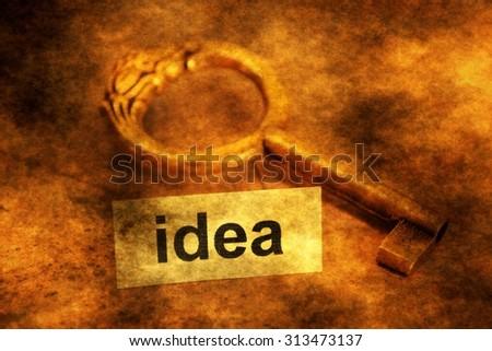 Idea tag  and old key - stock photo