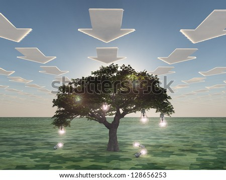 Idea tree with arrow clouds - stock photo