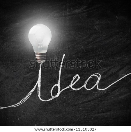 Idea written on a blackboard - stock photo