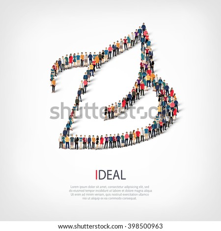ideal people crowd - stock photo
