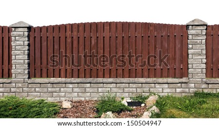 Ideal rural fence fragment  made from wooden brown  planks and gray bricks. Isolated - stock photo