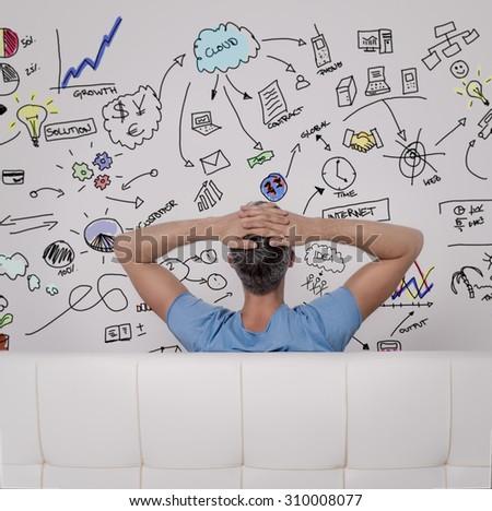 ideas development of sitting male - stock photo