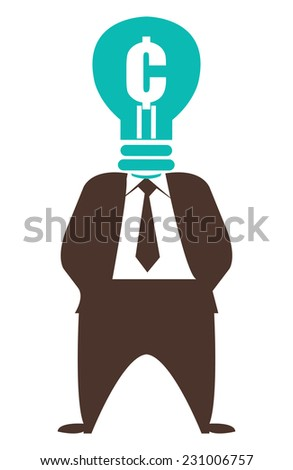 Ideas for Generating Extra Income, Businessman With Cent Currency Lamp Head Isolated on White Background - stock photo
