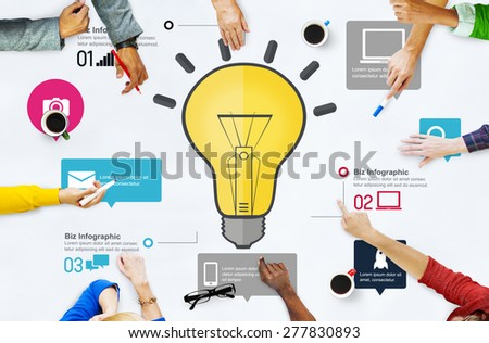 Ideas Inspiration Creativity Biz Infographic Innovation Concept - stock photo