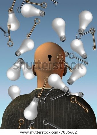Ideas - Key to mind concept - stock photo