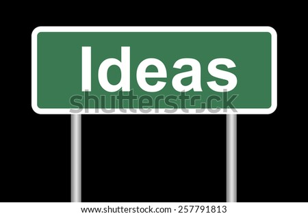Ideas road sign on black, isolated with clipping path - stock photo