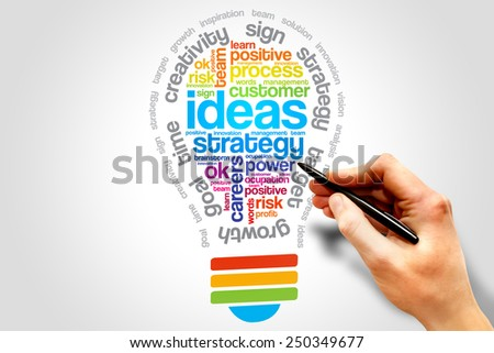 Ideas Sphere Bulb word cloud, business concept - stock photo