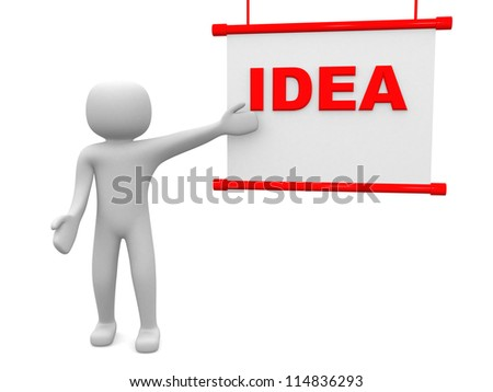 Ideea concept.Isolated on white background.3d rendered. - stock photo