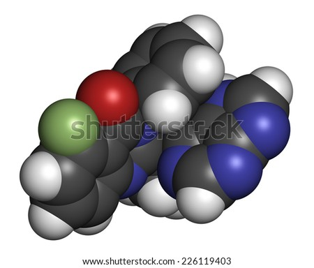 Idelalisib leukemia drug molecule. Inhibitor of phosphoinositide 3-kinase (PI3K). Atoms are represented as spheres with conventional color coding: hydrogen (white), carbon (grey), oxygen (red), etc - stock photo