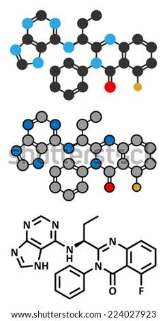 Idelalisib leukemia drug molecule. Inhibitor of phosphoinositide 3-kinase (PI3K). Stylized 2D rendering and conventional skeletal formula. - stock photo